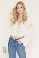 Forever 21 Button-Front Embroidered Top