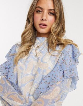 We Are Kindred amalfi paisley print ruffle blouse
