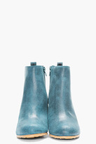 Maison Martin Margiela Teal Waxed Suede Wedge Boots
