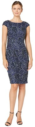 Alex Evenings Midi Embroidered Dress with Sequin Detail (Navy) Women's Dress