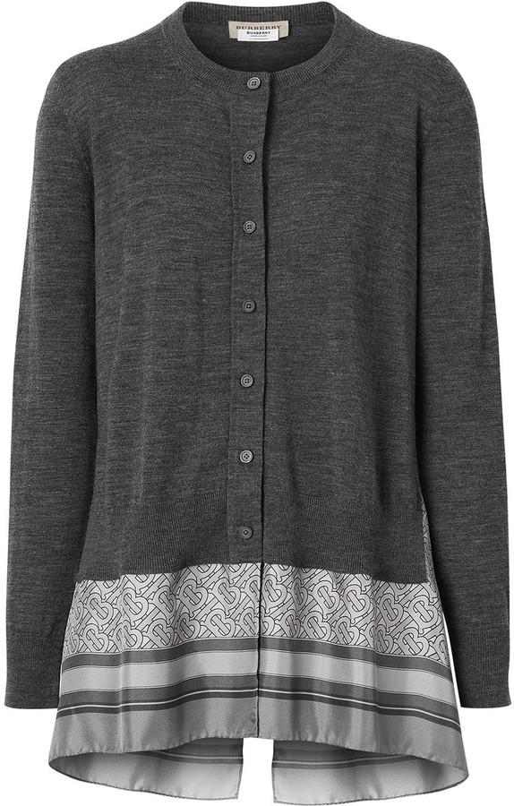 Burberry Monogram Print Scarf Detail Wool Cardigan