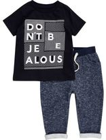 River Island Mini boys black T-shirt and joggers set