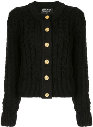 Chanel Pre Owned Cable Knit Cardigan