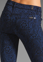 7 For All Mankind The Skinny in Blue/Black Brocade Jacquard