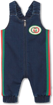 Gucci Kids Web Stripe Denim Dungarees