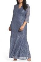 Alex Evenings Plus Size Women's Lace Fit & Flare Gown