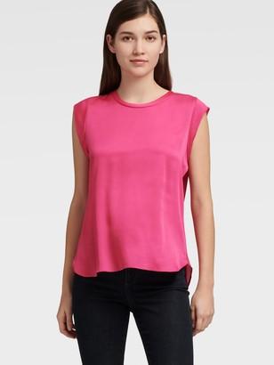 DKNY Women's Flutter Cap Sleeve Top - Neon Pink - Size XL