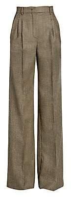 Fendi Women's High-Rise Pixel Wool Wide-Leg Trousers