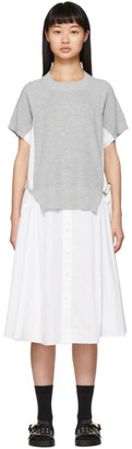 Sacai White Knit Panel Dress