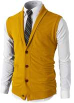 H2H Men's Dress Basic Shawl Collar Knitted Slim Fit Vest RED US XL/Asia XXL (CMOV034)