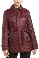 Cole Haan Leather-trim Quilted Coat.