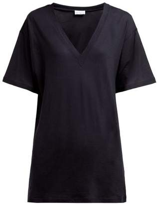 Raey V Neck Cotton Jersey T Shirt - Womens - Navy