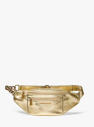 MICHAEL Michael Kors Medium Metallic Snake-Embossed Leather Belt Bag