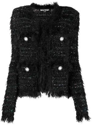 Balmain frayed tweed jacket