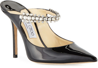 Jimmy Choo Bing Patent Jeweled Mules