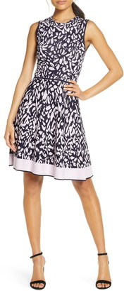 Eliza J Print Sleeveless Fit & Flare Sweater Dress