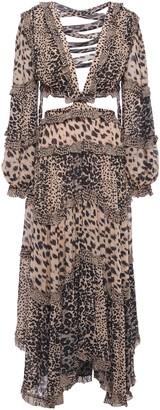 Zimmermann Allia Cutout Lace-up Leopard-print Georgette Midi Dress