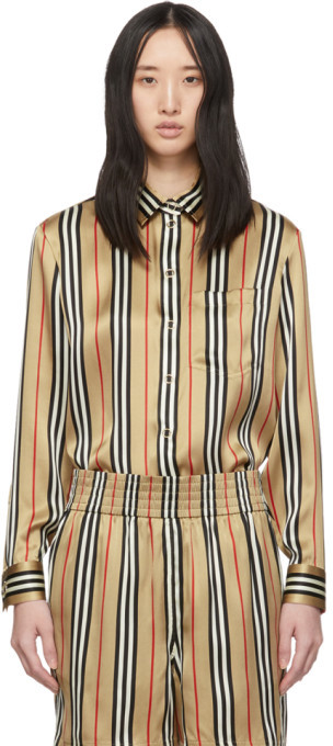 Burberry Beige Silk Stripe Godwit Shirt