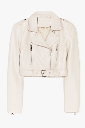 Nasty Gal Womens Part Time Rocker Cropped Faux Leather Jacket - White - XL
