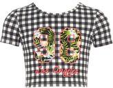 River Island Girls gingham print 'Los Angeles' T-shirt