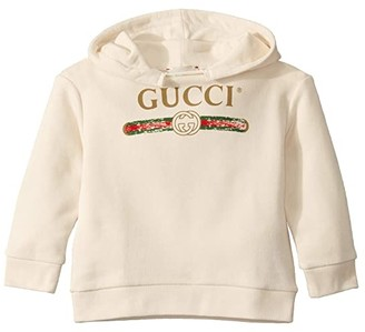 Gucci Kids GG Vintage Sweatshirt w/ Hood 532555X9P00 (Infant) (White/Green/Red) Kid's Clothing