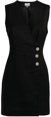 Ganni Embellished Button Sleeveless Dress