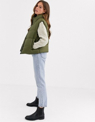Asos DESIGN nylon padded gilet jacket in khaki