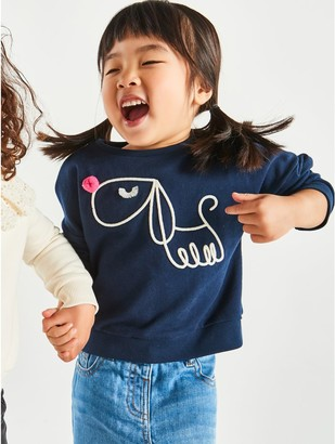 M&Co Pom pom embroidered dog sweatshirt (9mths-5yrs)