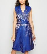 New Look Nesavaali Bright Metallic Jacquard Wrap Dress