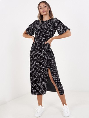 Quiz Crepe Polka DotSplit Front Dress - Black