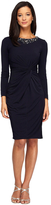Alex Evenings 1351271 1351271 Embellished Neck Long Sleeves Twist-Front Dress