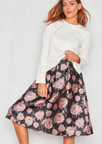 Missy Empire Desi Pink Floral Midi Tea Skirt