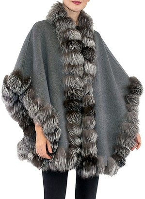 Belle Fare Dyed Fox Fur-Trim Wool Cape