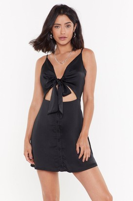 Nasty Gal Womens Satin Button Down Cut Out Mini Dress - black - 12