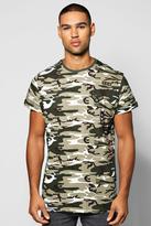 Boohoo Longline Camo Badge T-Shirt W/Scoop Hem