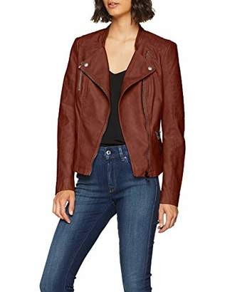ONLY NOS Women's Onlava Faux Leather Biker Otw Noos Jacket, Brown Cherry Mahogany), Small 8 UK (Manufacturer Size: )