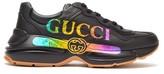 Gucci Rhyton Logo-print Leather Trainers - Mens - Black
