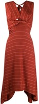 Three floor V-neck striped pattern Lola dress