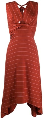 Three floor V-neck striped pattern Lola dress