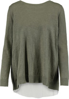 Sandro Saphir layered cotton-blend and plissé-georgette sweater