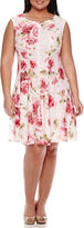 Studio 1 Sleeveless Floral Crochet Lace Fit-and-Flare Dress - Plus