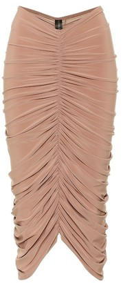 Norma Kamali Ruched stretch-jersey pencil skirt