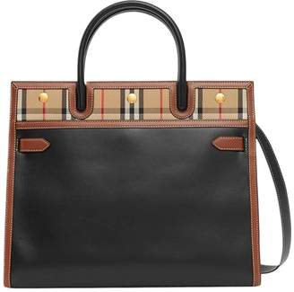 Burberry mini two-handle title bag, leather and vintage check