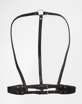Black & Brown Leather Body Harness with Back Ring Detail and Waist Belt