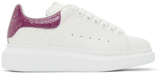 Alexander McQueen White and Pink Croc Oversized Sneakers