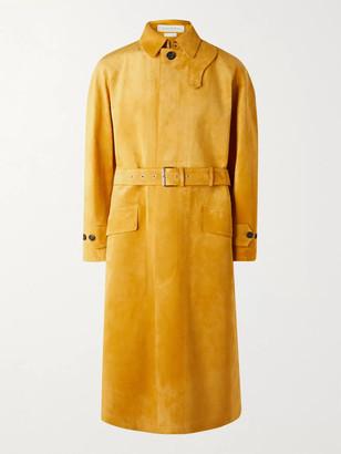 Alexander McQueen Suede Trench Coat - Men - Yellow