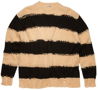 Acne Studios Striped Knit Sweater, Black And Warm White