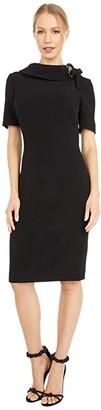 Badgley Mischka Tie Neck Dress (Black) Women's Dress