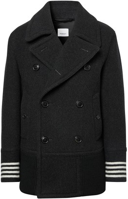 Burberry Striped-Cuff Short Peacoat