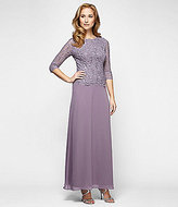 Alex Evenings Sequined Lace & Chiffon Gown